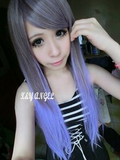 X&Y ANGEL- New Two Tone Long Straight Heat Resistant Highlights Hair Wigs Gray To Purple MJ051