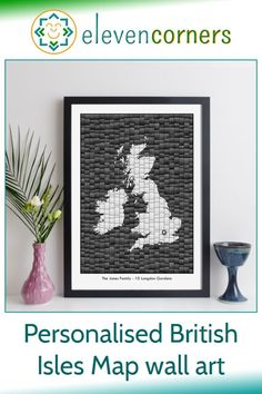 Custom map art of the British Isles - you can personalise it with a location marker and a special message below the map. Unique personalised map new home gift idea or housewarming present. #elevencorners #mapart #personalisedprint #giftideas #housewarming #newhome Personalised Gifts For Him, Personalised Prints, Personalized Wall Art, Personalized Wedding, Map Wall Art, Map Art, Ireland Map, Family Wall Art, Presents For Him
