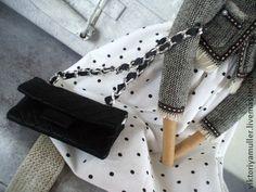 кукла тильда ручной работы ШАНЕЛЬ - чёрно-белый,твид,жакет Шанель,сумка шанель