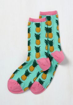 Tropics of Discussion Socks. The second your squad gets a look at your pineapple socks, that's all theyll be talking about! #multi #modcloth