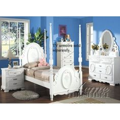 Flora White Flower 4PC Girls 4 Post Full Size Bedroom * You can find out more details at the link of the image. (This is an affiliate link) #HomeDecoration