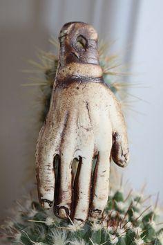 Ceramic Pendant Handmade Porcelain Hand Art by potterygirl1,