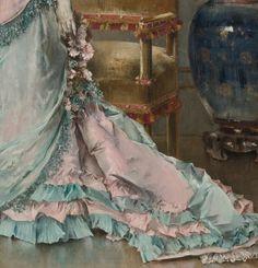 ALFRED STEVENS BELGIAN L'ATTENTE (AVANT LE BAL) Alfred Stevens, Antique Paint, Pretty Art, Drapery, Beautiful Dresses, Gown, Shades, Women's Fashion, Paintings
