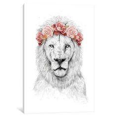 "East Urban Home 'Festival Lion' Graphic Art Print on Canvas Size: 40"" H x 26"" W x 1.5"" D"