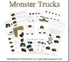 Monster Trucks Printable Pack {free}