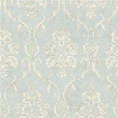OM91901 Light Blue Damask - Domenico - Raymond Waites Wallpaper