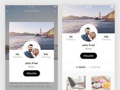 Dribbble - Profile Screen - Mobile Blog App by Thomas Budiman: