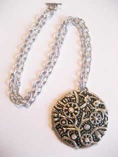 Large Silver and Black Medallion Necklace with Swarovski Crystal Accents
