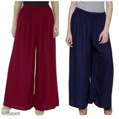 Checkout this latest Palazzos Product Name: *New Fabulous Rayon Women's Palazzos Combo * Fabric: Rayon Waist Size: Up To 28 in To 42 in (Free Size ) Length: Up To 39 in Type: Stitched Description: It Has 2 Pieces Of Women's Palazzos  Pattern: Solid Country of Origin: India Easy Returns Available In Case Of Any Issue   Catalog Rating: ★4 (755)  Catalog Name: Lasafiya Fabulous Rayon Women's Palazzos Combo CatalogID_558946 C79-SC1039 Code: 363-3962476-498