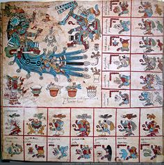 "Page 5 Codex Borbonicus. Ventas of Quiahuitl trecena. Tlaloc, the chief rain god, is faced by what may be a priest in his same garb, wielding a staff in the shape of a snake. His ""goggle eyes"" and fangs marking him out. Another god swims up the river emerging from the hill upon which he sits. Both are adorned with the paper rosette on their headdresses that connotes a connection to the underworld due to its association with Mictlantecuhtli, the chief death god. -Taylor Bolinger"
