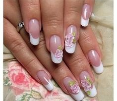 Almond-shaped nails, Bridal nails, Bride nails, Chinese nail painting, Chinese painting nails, Delicate french manicure, french manicure with a flower, French patterned manicure