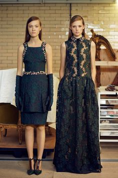 Gorgeous rich green and texture - Erdem | Pre-Fall 2014 Collection | Style.com