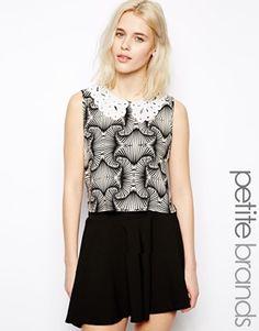 Glamorous Petite Crochet Collar Crop Top