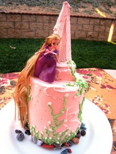 Simple icing decorations and a princess doll are an easy way to wow your all-things-princess loving kid!