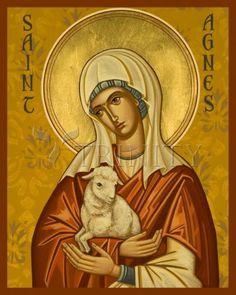 Religious Icons, Religious Art, Eucharistic Prayer, Santa Ines, St Agnes, Religious Paintings, Byzantine Icons, Art Icon, Orthodox Icons