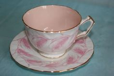 Lovely vintage Aynsley bone china cup saucer set, petal design - Pink Wheats in Pottery & Glass, Pottery & China, China & Dinnerware, Aynsley | eBay