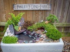 How to create a mini dinosaur garden - Simon Orchard Garden Design Dinosaur Garden, Dinosaur Land, Mini Mundo, Dino Park, Parks, Sensory Garden, Garden Projects, Garden Crafts, Garden Inspiration