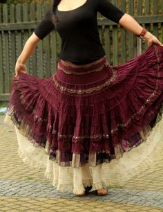 Absolutely unique upcycled skirt. Made from upcycled clothing. Remade and reused. Shabby chic gypsy style. Perfect to gypsy, tribla fusion bellydance. One of a kind.  Size: M (european 38)  Waist max 32 inches (81 cm) closed with zipper  Hips max 46 inches (118 cm)  Length 38 inches (96 cm)