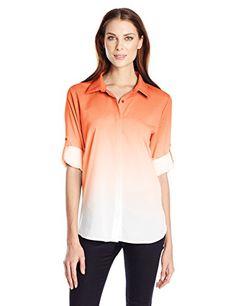 Calvin Klein Women s Dip Dye Button Front 0fa3508e3