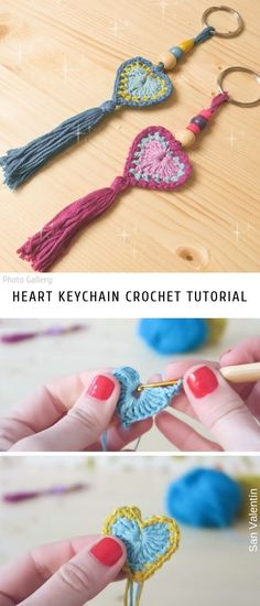 Heart Keychain Crochet Tutorial is part of Knitting and Crochet Tutorials - If you have too many difficult and ambitious projects the time for a break with something very fast and very easy like this, not complicated stuff The keychain Beau Crochet, Free Crochet, Crochet Amigurumi, Crochet Toys, Crochet Flower Patterns, Crochet Flowers, Crochet Jewelry Patterns, Crochet Hearts, Crochet Keychain Pattern