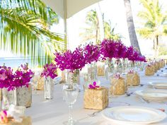 "Antonio Sabato Jr.'s Intimate Big Island Wedding ~ Purple orchids from the island added a splash of color to the ""elegant, classy, intimate and simple"" seaside dinner that followed the sunset ceremony."
