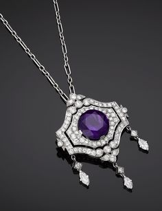 Antique Edwardian Amethyst & Diamond Pendant and Brooch