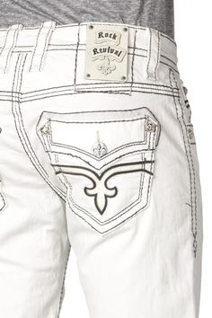 ROCK REVIVAL JEANS Mens Boot Cut Dan B26 RJ8860B26 White Stitch ...