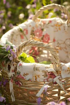 Pretty fabric lined basket. I have a few baskets this would be great for!.Beautiful Basket liners. #Basket liner #Liner #Basket #wicker basket