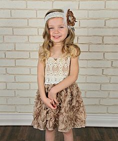 Look at this #zulilyfind! Just Couture Ivory & Mocha Crochet Rosette Dress - Infant, Toddler & Girls by Just Couture #zulilyfinds