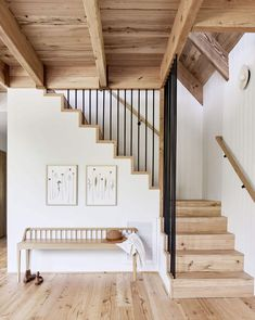 Before And After: A Californian Mountain Living Room Gets A Scandi Makeover – wood stairs, white walls and wood bench in the entrance / hall. Rustic Stairs, Wood Stairs, Stair Railing, Railing Ideas, Entryway Stairs, Entry Bench, Cottage Staircase, Glass Railing, Painted Stairs