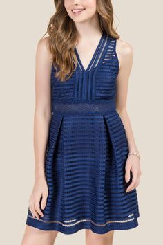 Hallie V-Neck Stripe Lace Dress