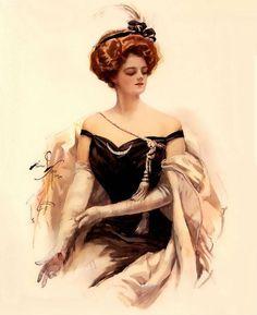 """Elegance In Black"" ~ Edwardian fashion lithograph by Harrison Fisher, 1909."
