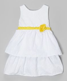 Look what I found on #zulily! White & Yellow Floral Tiered Dress - Toddler & Girls #zulilyfinds