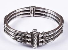 925 Solid Sterling Silver Bangle Stylish Jali Work Easy to Open 53 mm Bangles, Bracelets, Traditional Design, Sterling Silver, Stylish, Easy, Handmade, Jewelry, Bangle Bracelet