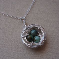 Bird  Nest Necklace  Rustic Style African Turquoises  by lizix26, $29.00