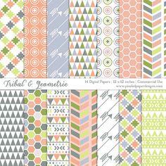 Geometric & Tribal DIGITAL PAPER Romantic by PixeledPaperDesigns, $3.50