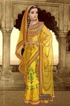 Jodha bai ~ by kaurwaki Mughal Paintings, Indian Paintings, Fashion Drawing Dresses, Fashion Sketches, Fashion Illustrations, Fashion Dolls, Fashion Art, Dress Illustration, Doll Divine