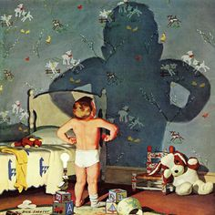 Big Shadow, Little Boy by Richard Sargent Painting Print on Wrapped Canvas