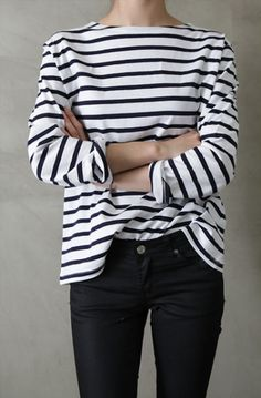 Want: White and Black Striped top. Long sleeve, or 3/4 sleeve. Good quality (to replace the worn out one I have)