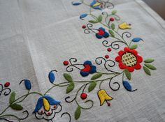 Beautiful square tablecloth! Natural white color linen tablecloth with beautifully detailed hand embroidery work. This is traditional polish school of