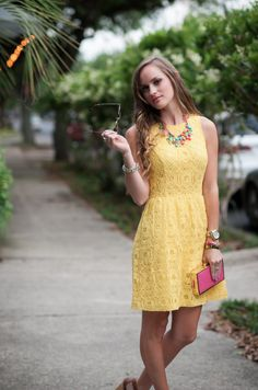 #kensie Clothing yellow lace sundress on #Morrellsarmoire Fashion Blog. J.crew  color mix  statement necklace.