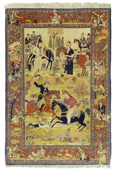 KESHAN PICTORIAL CARPET old. Central field with hunting scenes in harmonious…