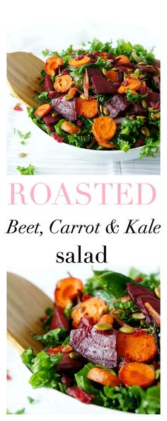This gluten-free and vegan Roasted Beet & Carrot Kale Salad is not only pretty to look at, it& also bursting with flavour and nutrients! The perfect salad for entertaining during the holidays! Healthy Salad Recipes, Whole Food Recipes, Vegetarian Recipes, Cooking Recipes, Roasted Kale Recipes, Roasted Kale Salad, Carrot Salad Recipes, Kale Salads, Kale And Carrot Recipe