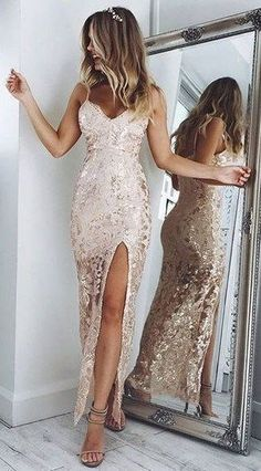 Charming Backless Prom Dress, Sheath Spaghetti Straps Floor-Length Champagne Lace Prom Dress by Hiprom, $172.24 USD