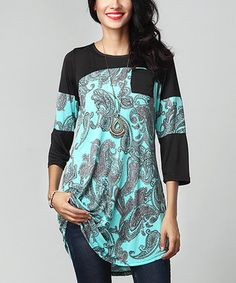 75152046 Aqua Paisley Contrast Sleeve Tunic Zulily Women Tops, Plus Size Fall  Outfit, Sleeveless Tunic