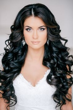 Stunning Black Curls - Feminine Bridal Hair