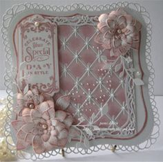 Card made by Pam  Using the new Diamond Background Die by Memory Box