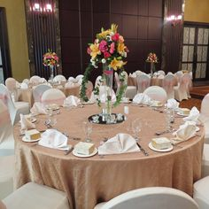 Romantic and colourful wedding setting with fresh flowers at Beach Rotana.