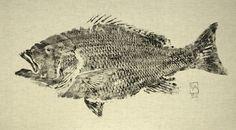 Fish Prints- black ink on muslin, canvas or cloth