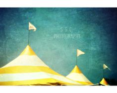 Carnival photography. Circus tents. stripes. yellow. blue. vintage photography. retro art. fair.